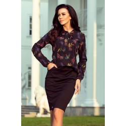 Blouse with bond - dark blue + colorful dragonflies (140-10)