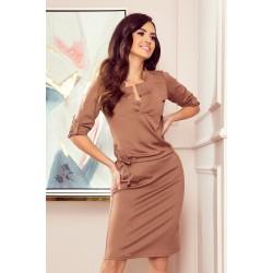 AGATA - dress with a collar - light brown (161-15)