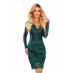 Lace dress with neckline - green (170-9)