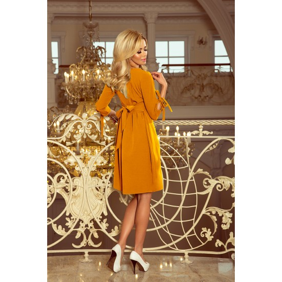 NUMOCO ALICE Dress with bows - mustard color (195-6)