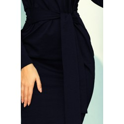 Dress with a wide tied belt - navy blue color (209-4)