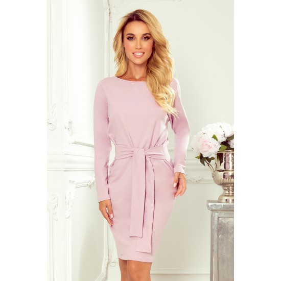 Dress with a wide tied belt - heather (209-7)