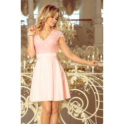 NUMOCO dress with neckline and lace - pastel pink (242-1)