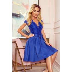 NUMOCO dress with neckline and lace - Royal Blue (242-3)