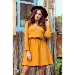 NANCY Dress with a zipper - mustard color (283-1)