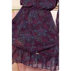NUMOCO BAKARI flimsy dress with a neckline - pink and blue mandalas (295-4)