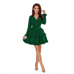 CAROLINE dress with frills and envelope neckline - green (297-1)