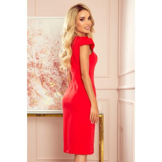 NUMOCO Midi dress with a nice neckline - red (318-1)