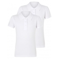Girls White Scallop School Short Sleeve Polo Shirt 2 Pack (B0001)