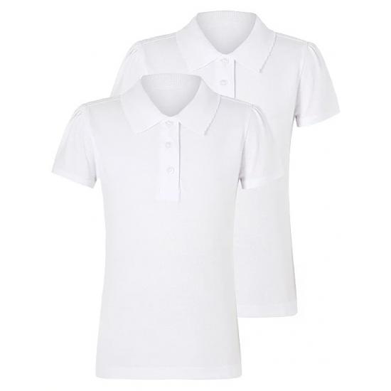Girls White Scallop School Short Sleeve Polo Shirt 2 Pack(B0001)