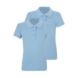 Girls Light Blue Scallop School Polo Shirt 2 Pack (B0004)