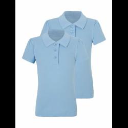 Girls Light Blue Scallop School Polo Shirt 1 Pack (B20001)