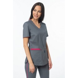 Women's medical blouse, gray + pink (BE4-S2)