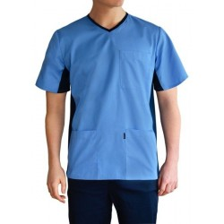 Men's medical shirt with elastic band on the side (MBE1-BL)