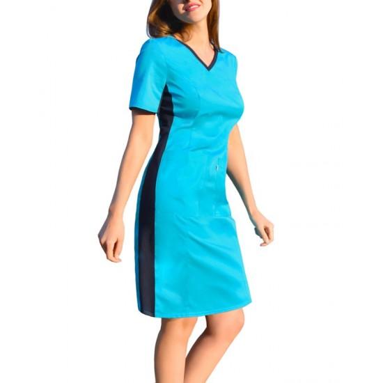 Medical dress with ELASTIC ribbed sides (SKE1-T)