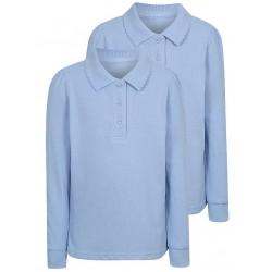 Girls Light Blue Long Sleeve Scallop School Polo Shirt 2 Pack (B0063)