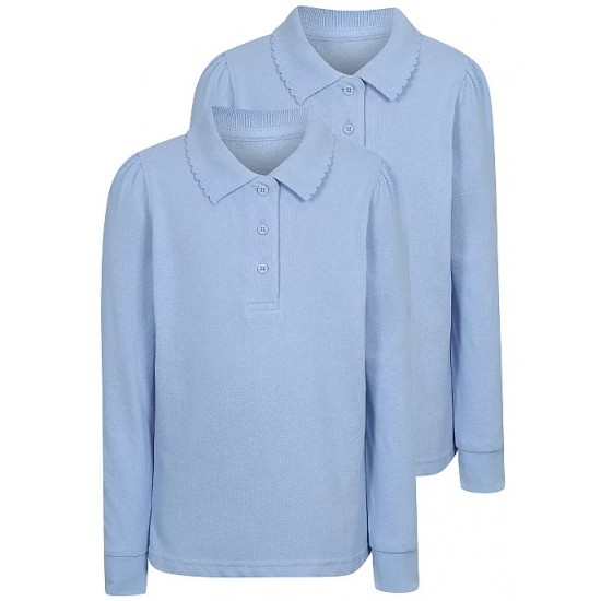 Girls Light Blue Long Sleeve Scallop School Polo Shirt 2 Pack (B0063)