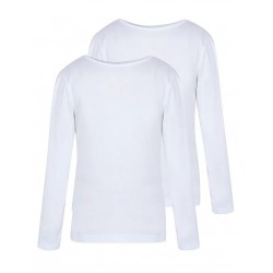 Girls White School Long Sleeve Crew Neck T-shirts 2 Pack (B0081)