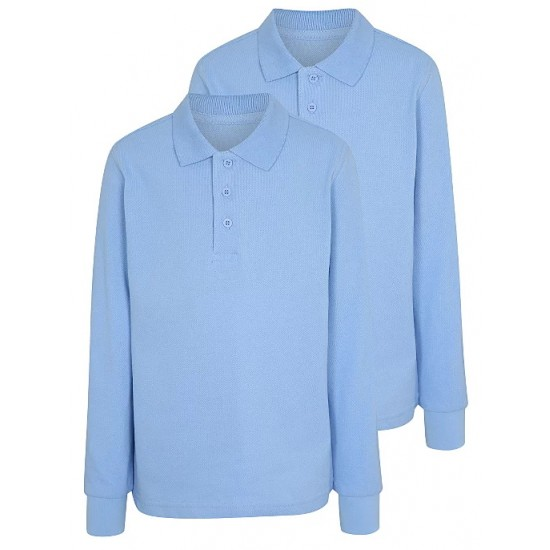 Boys Light Blue Long Sleeve School Polo Shirt 2 Pack (B0018)