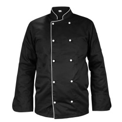 Black chef's blouse with piping, long sleeve (MG13RD-CZB)