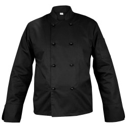 Chef's black shirt with buttons, with long sleeves (MG11RD-CZ)