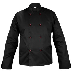 Black chef's blouse with long sleeves and red buttons (MG11RD-CZBOR)