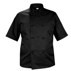 Chef's blouse, black, with short sleeves, with black buttons (MG11RK-CZ)
