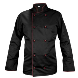 BLACK chef's blouse with maroon piping, long sleeve (MG13RD-CZBOR)