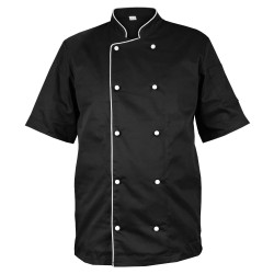 Black chef blouse with white finish, with short sleeves (MG13RK-CZB)