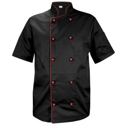 Black chef's shirt with short sleeves and burgundy trim (MG13RK-CZBOR)