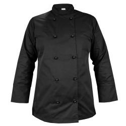 Black long sleeve women's chef's blouse (MG21RD-CZ)