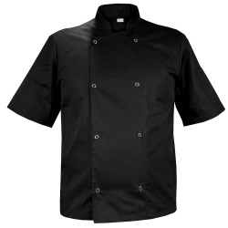 Black chef's shirt with short sleeves, with buttons (MGN11RK-CZ)
