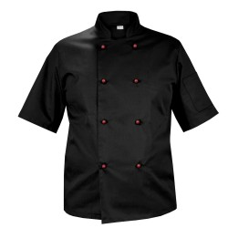 Chef's blouse, black with short sleeves, with red buttons (Mg11RK-CZBOR)