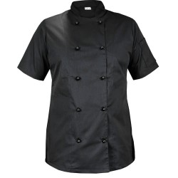 Black chef blouse for women with short sleeves (Mg21RK-CZ)